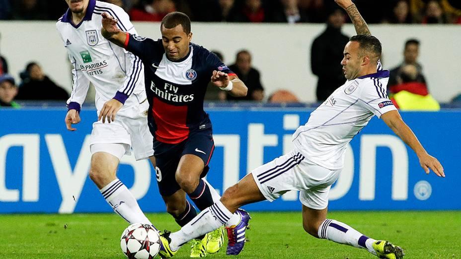 Lucas do PSG no empate em 1 a 1 contra o Anderlecht, em partida válida pela fase de grupos da Liga dos Campeões