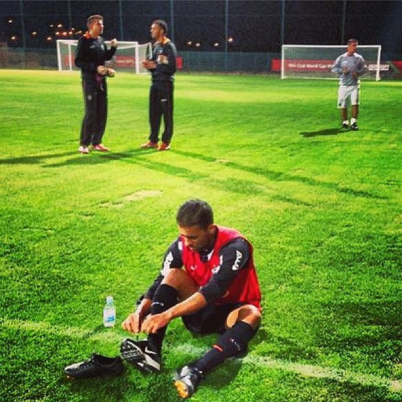 Volante Pierre treino do Atlético-MG para Mundial de Clubes da Fifa 2013 no campo anexo do Le Gand Stade de Marrakech, no Marrocos