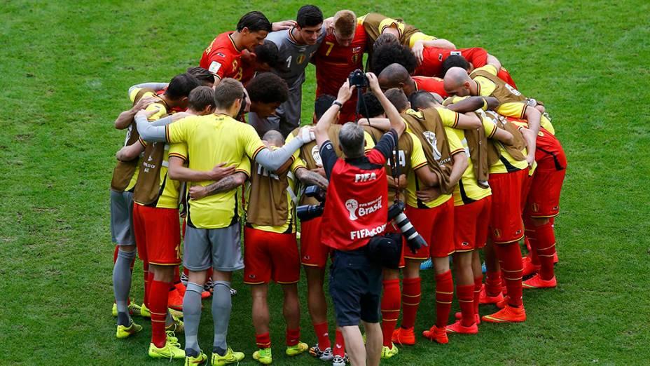 Seleção da Bélgica durante partida contra a Rússia, no estádio do Maracanã, no Rio de Janeiro