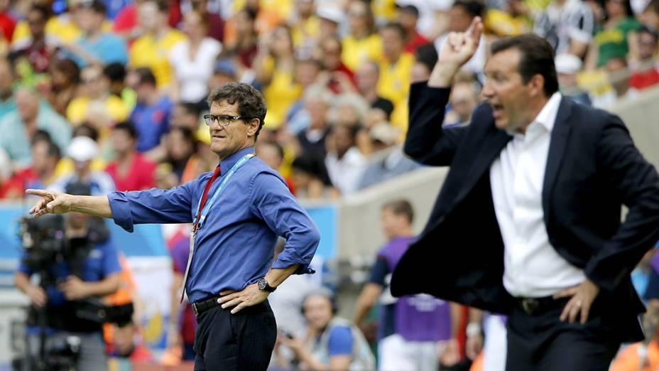 O treinador da Rússia,Fabio Capello, reage após lance durante partida contra a Bélgica, no estádio do Maracanã, no Rio de Janeiro