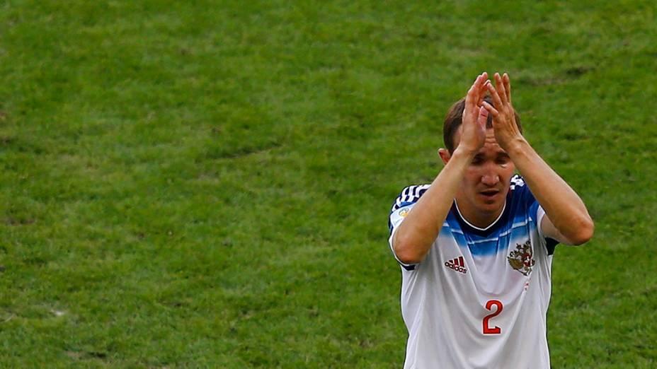O jogador da Rússia,Alexey Kozlov, durante partida contra a Bélgica, no estádio do Maracanã, no Rio de Janeiro