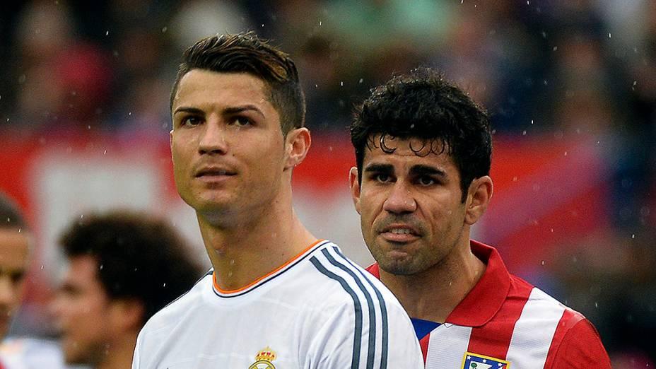 Cristiano Ronaldo e Diego Costa no clássico de Madri