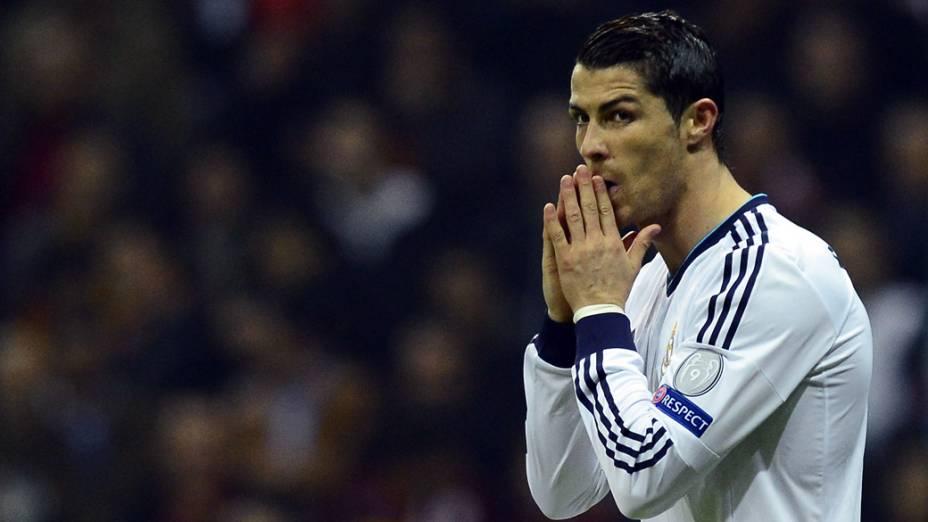 Cristiano Ronaldo durante o jogo contra o Galatasaray, pela Liga dos Campeões