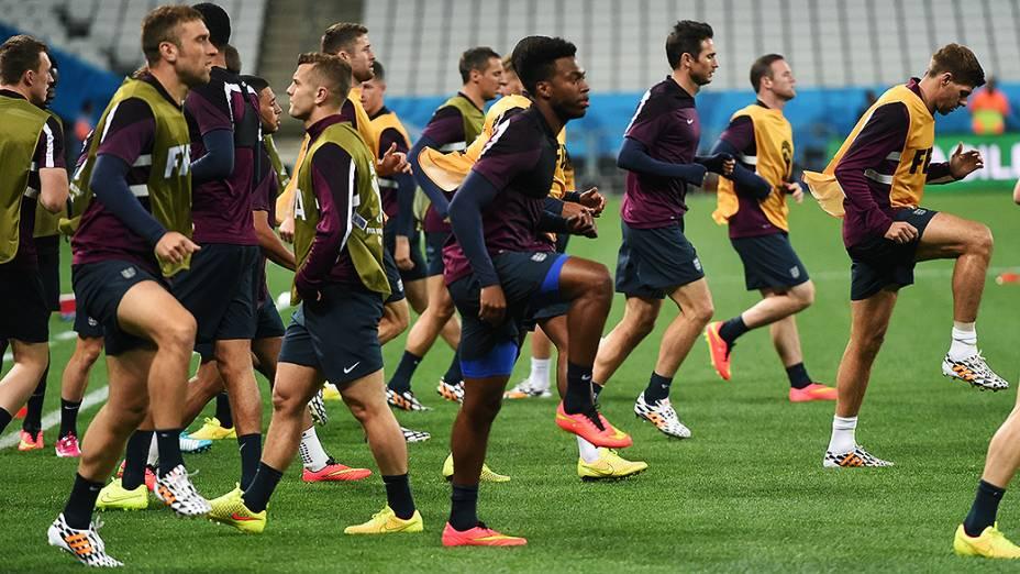 Treino da seleção inglesa na véspera da partida contra a Uruguai no Itaquerão, em São Paulo