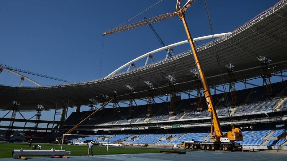 Vista do Estádio Olímpico João Havelange, o Engenhão, que passa por reformas para realização dos Jogos Olímpicos e Paraolímpicos Rio 2016