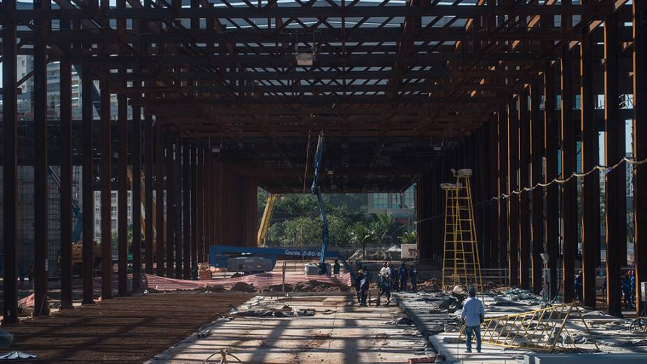 Vista geral do canteiro de obras do Parque Olímpico, na Barra da Tijuca