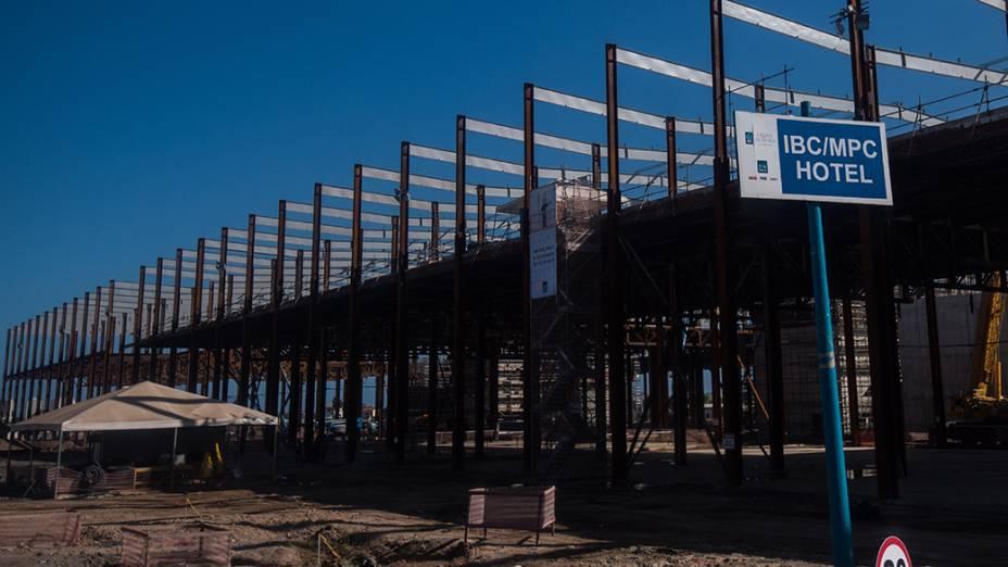 Obras Centro de Imprensa no Parque Olímpico, na Barra da Tijuca