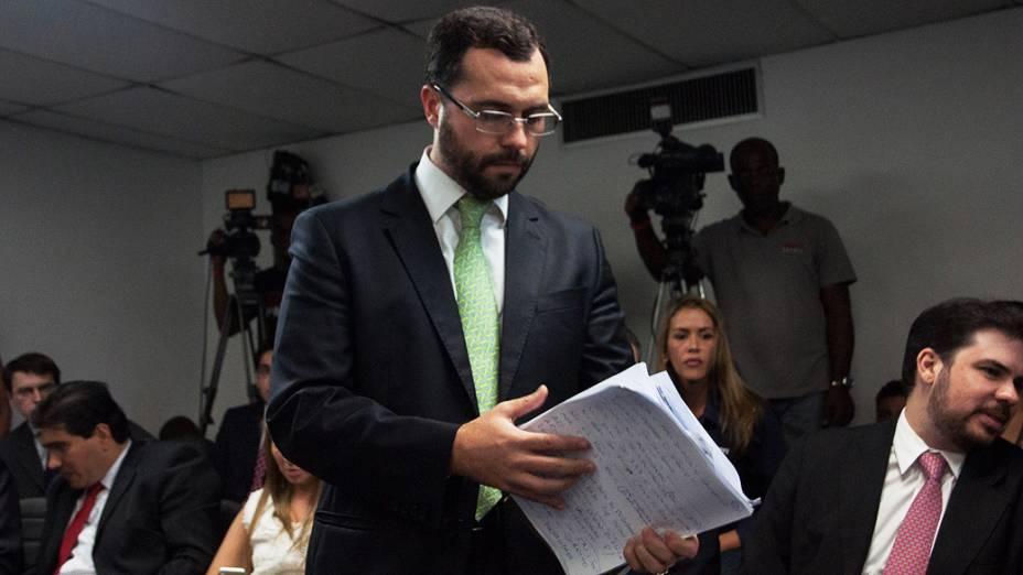 Márcio Bittencourt, adovogado do Fluminense durante o Julgamento do Pleno, no Superior Tribunal de Justiça Desportiva, no Rio de Janeiro
