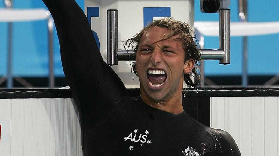 Ian Thorpe após vitória na prova dos 200 metros livre nos Jogos Olímpicos de Atenas, em 2004
