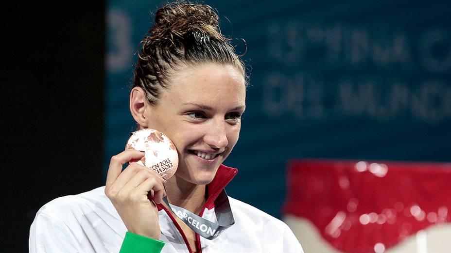 Atleta do Corinthians, a húngara Katinka Hosszú ganhou uma medalha de bronze (foto) e dois ouros no Mundial de Barcelona