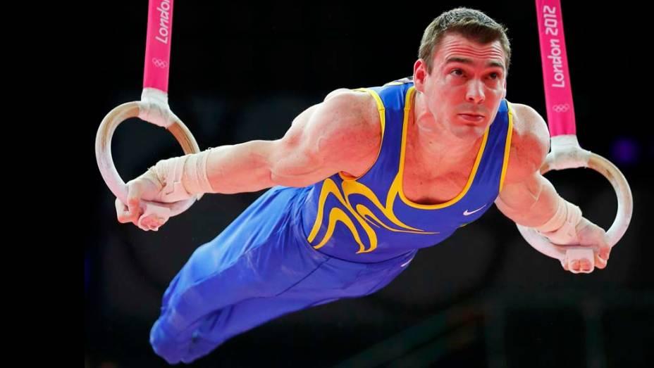 Apresentação do ginasta Arthur Zanetti nas argolas da ginástica artística masculina, em 06/08/2012