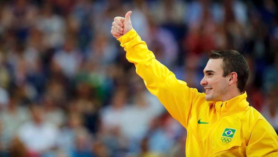 Arthur Zanetti medalha de ouro nas argolas da ginástica artística masculina, em 06/08/2012