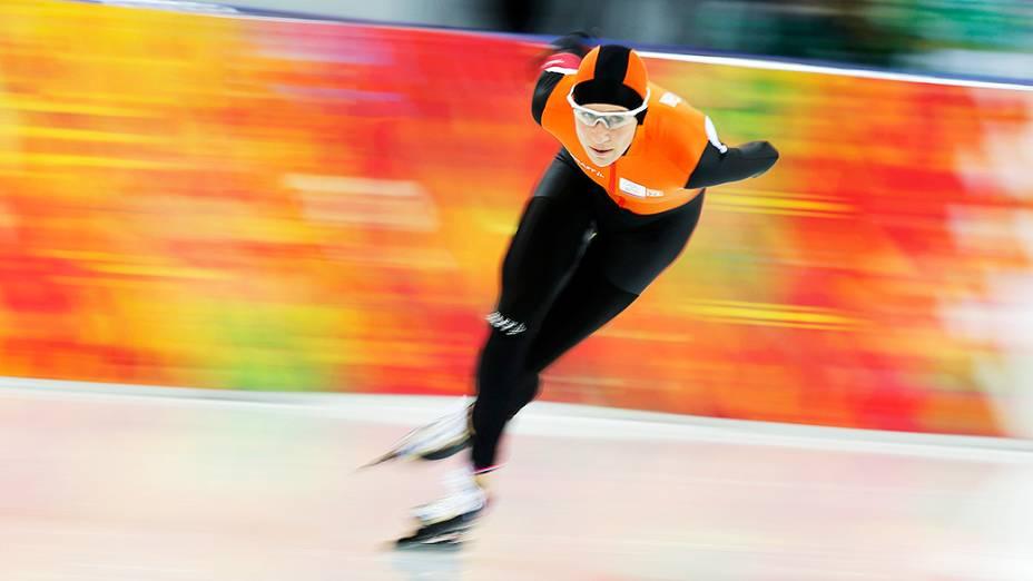 Carien Carien Kleibeuker, na prova feminina dos 5.000m, da Holanda, na prova feminina dos 5000m na Patinação de Velocidade durante os Jogos Olímpicos de Inverno, em Sochi