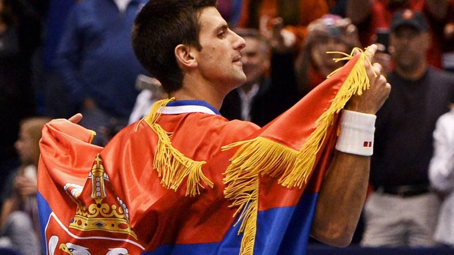 Novak Djokovic da Sérvia, supera Sam Querrey dos Estados Unidos em partida válida pelas quartas de final da Copa Davis