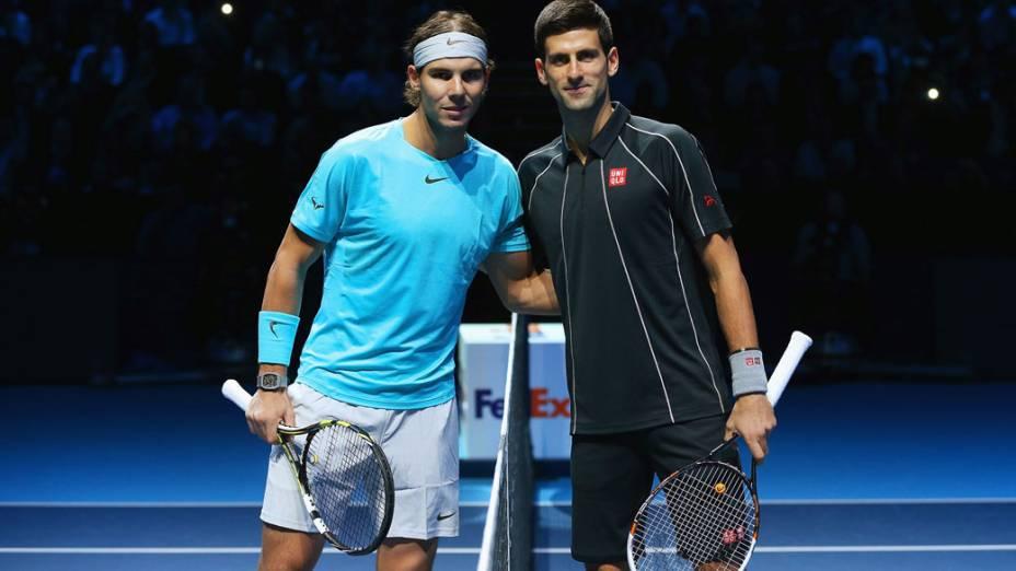 Rafael Nadal e Novak Djokovic, antes da decisão da finais da ATP em Londres