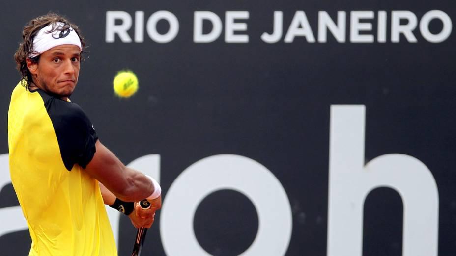 O tenista João Feijão durante partida contra Facundo Bagnis no Rio Open
