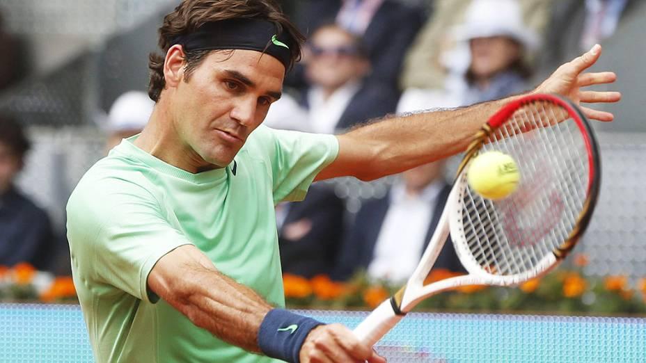 Roger Federer durante a partida contra o checo Radek Stepanek, pelo Masters 1000 de Madri