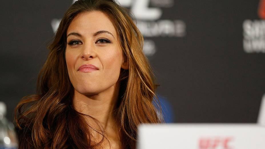 Miesha Tate durante entrevista coletiva do UFC 168 em Las Vegas
