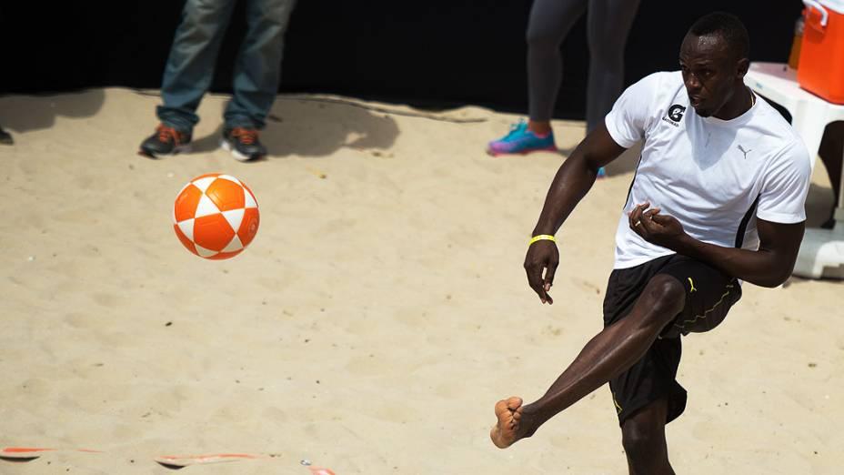 Usain Bolt em Copacabana, no Rio de Janeiro