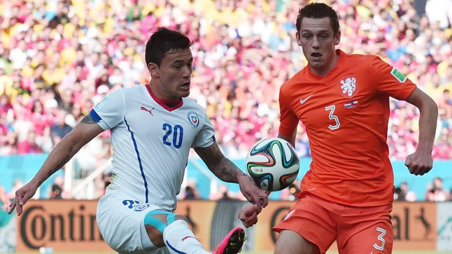 Lance no jogo entre Holanda e Chile no Itaquerão, em São Paulo