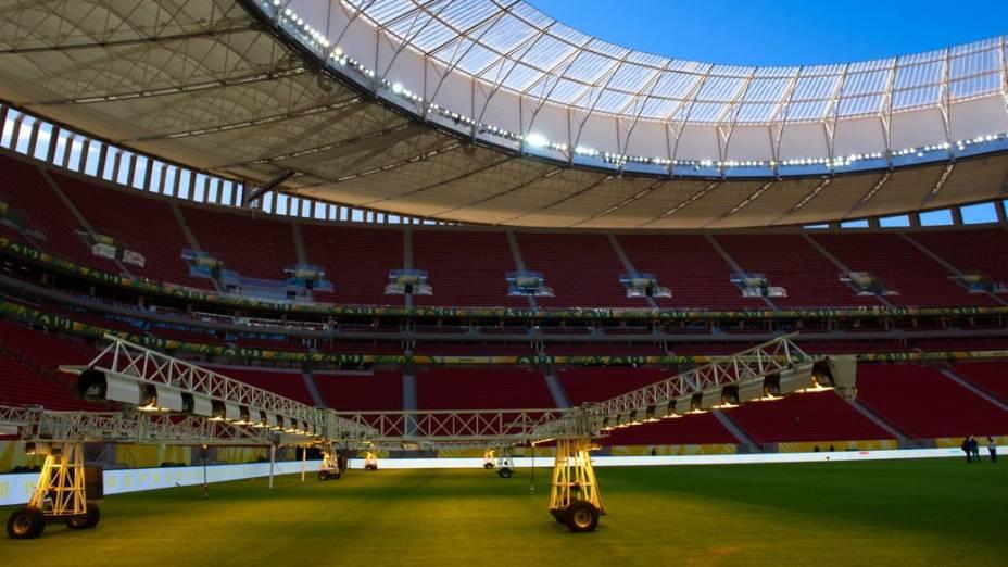 Últimos preparativos no Estádio Nacional de Brasília Mané Garrincha para a abertura da Copa das Confederações, no sábado, entre Brasil e Japão