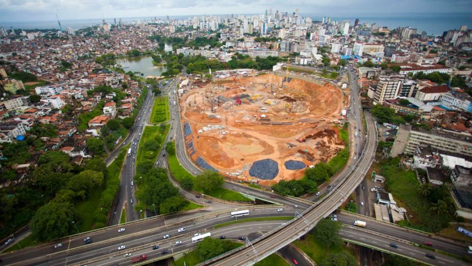 Obras da Arena Fonte Nova, em Salvador, em maio de 2011