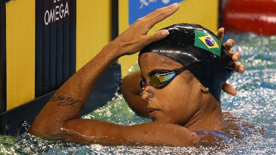 Etiene Medeiros durante o Campeonato Mundial FINA em Piscina Curta no Hamad Aquatic Centre. 06 de dezembro de 2014, Doha, Catar