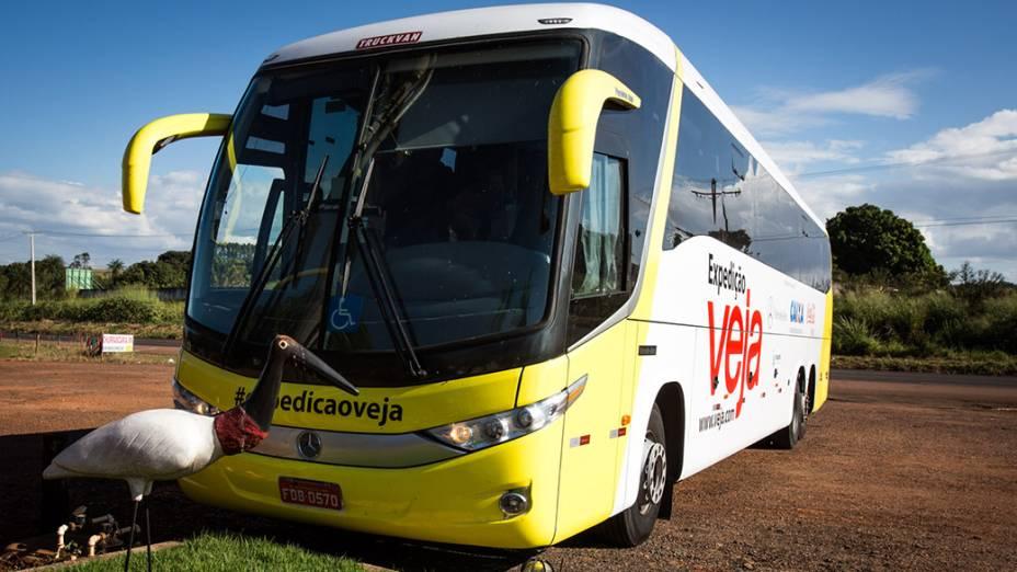 Ônibus da Expedição Veja na região de Bandeirantes (MS) com destino a Rondonópolis (MT)