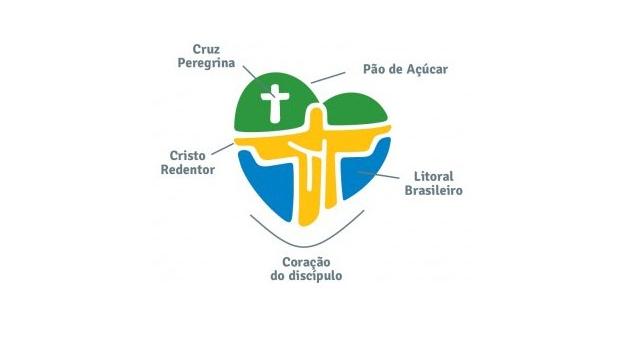 Logomarca da Jornada Mundial da Juventude (JMJ) de 2013 é formada por elementos religiosos, além de referências ao Rio de Janeiro e o Brasil