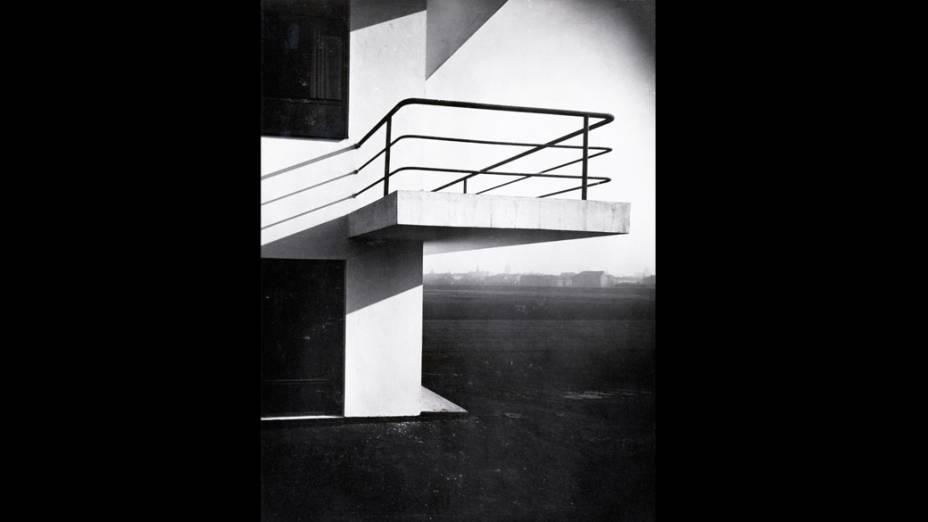 Balcão da Bauhaus na casa ateliê, em Dessau, arquiteto Walter Gropius