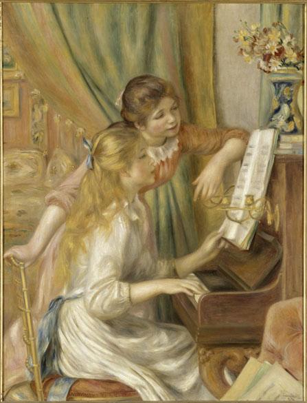 Obra Jeunes filles au piano do pintor impressionista Pierre-Auguste Renoir