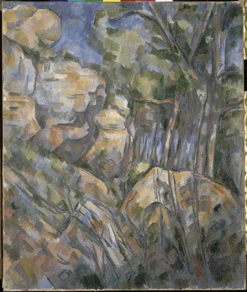 Obra Rochers près des grottes audessus de Château-Noir do pintor impressionista Paul Cézanne