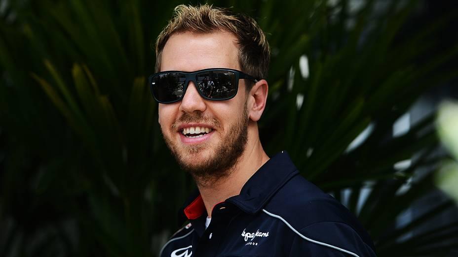 Sebastian Vettel chega ao circuito de Interlagos, em São Paulo