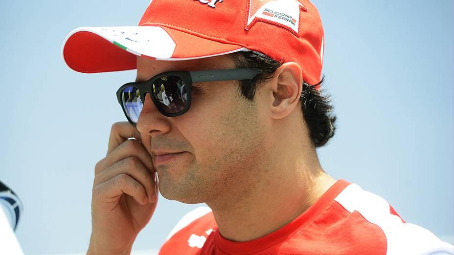 Felipe Massa chega ao circuito de Interlagos, em São Paulo