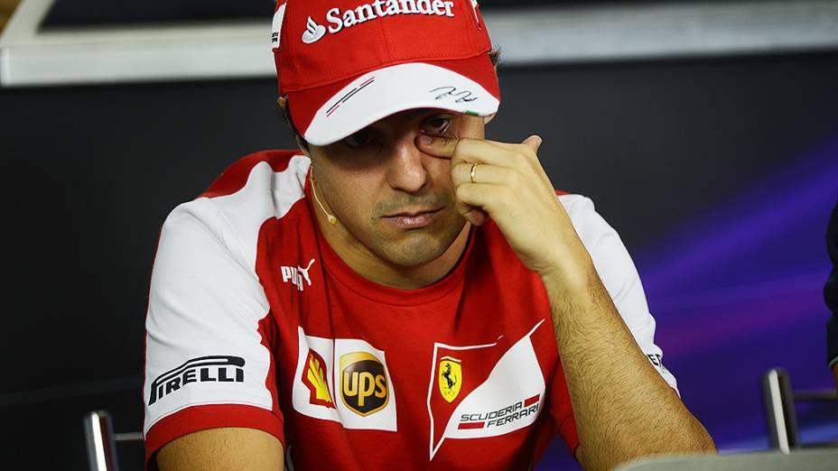 Felipe Massa durante coletiva de imprensa, no circuito de Interlagos, em São Paulo