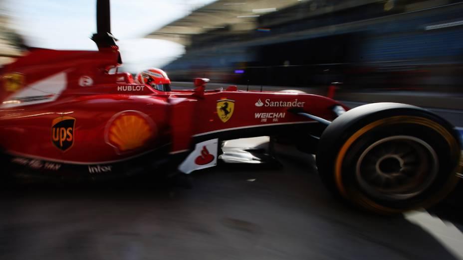 Kimi Raikkonen, da Ferrari, no quarto dia de testes no Bahrein