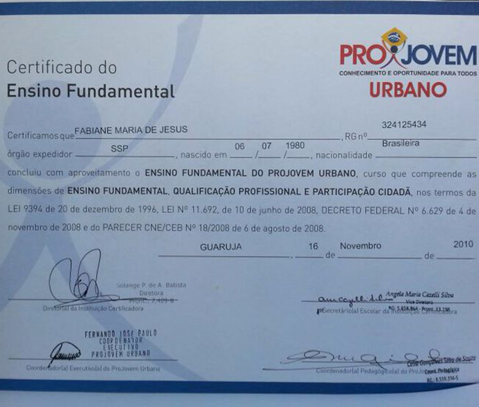 Diploma do Ensimo Médio da vítima morta por linchamento no Guarujá, litoral de São Paulo