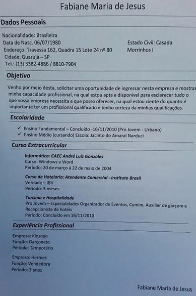 Currículo de Fabiane Maria de Jesus, vítima morta por espancamento no Guarujá, litoral de São Paulo