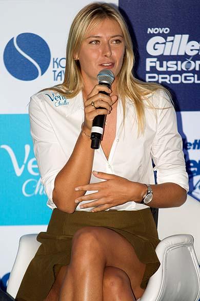 Maria Sharapova durante entrevista coletiva em São Paulo