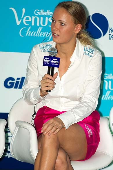 Caroline Wozniack durante entrevista em São Paulo