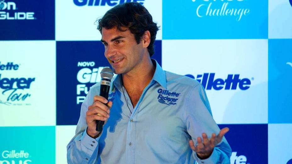 Roger Federer durante entrevista coletiva no Continental Tower, em São Paulo