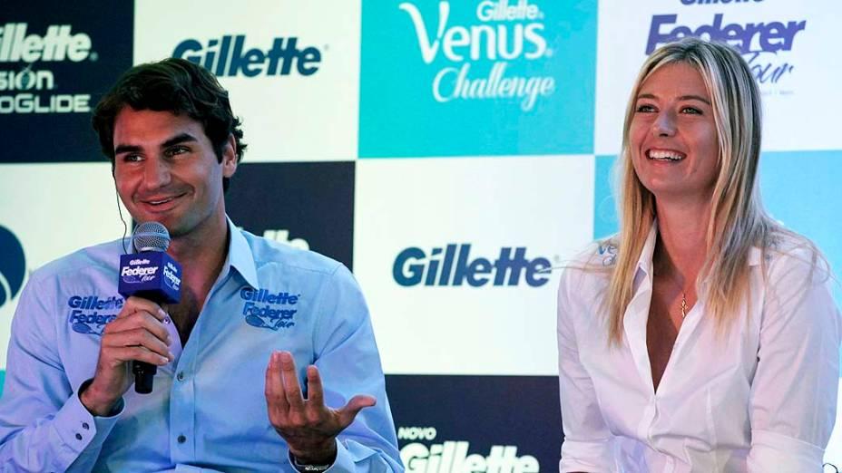 Roger Federer e Maria Sharapova durante entrevista coletiva no Continental Tower, em São Paulo