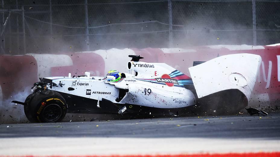 O brasileiro Felipe Massa bateu na última volta do GP do Canadá, em Montreal, neste domingo (08)