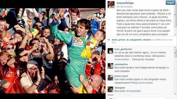 Felipe Massa confirma em rede social que não será piloto da Ferrari em 2014