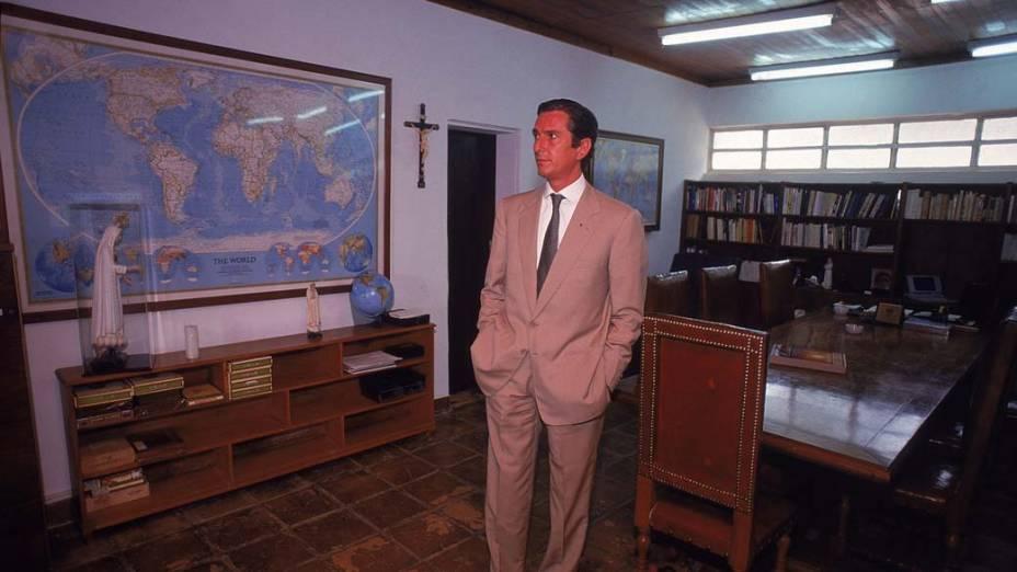 Fernando Collor, presidente afastado, na Casa da Dinda, mansão da família Collor de Mello em Brasília, em 17/12/1992