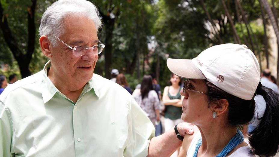 O ex presidente Fernando Henrique Cardoso votou em São Paulo no Colégio Sion, no bairro de Higienópolis