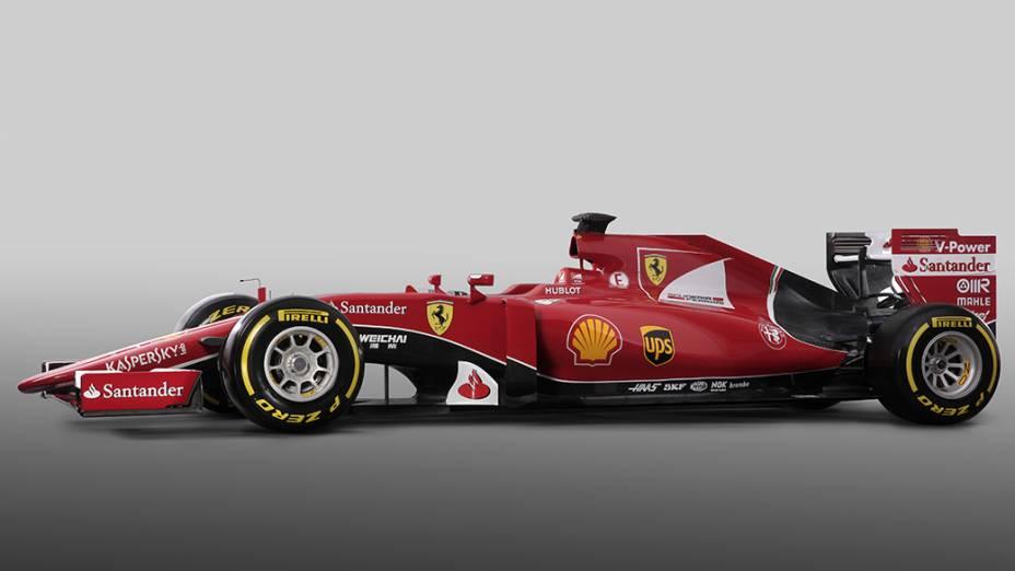 A nova Ferrari SF15-T, que será utilizada por Sebastian Vettel e Kimi Raikonnen em 2015