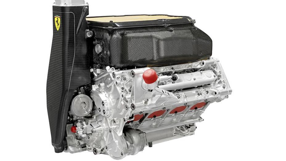 Detalhe do motor da Ferrari F138, novo modelo para a temporada 2013 da Fórmula 1