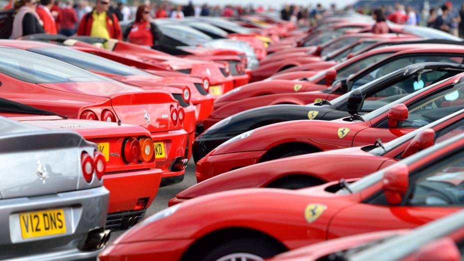 Encontro de Ferraris no circuito de Silverstone, na Inglaterra