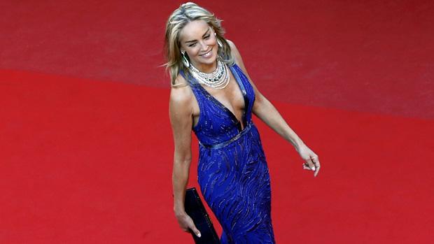 A atriz Sharon Stone no Festival de Cannes 2013